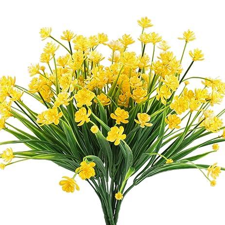 artificial fake flowers hogado 4pcs faux yellow daffodils greenery shrubs plants plastic bushes indoor outside