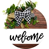 Welcome Sign for Front Door, Front Door Decor for Farmhouse Porch Decorations, Rustic Welcome Wreaths Sign with Stapled Green