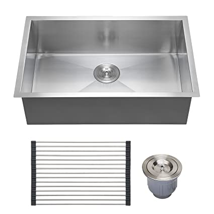 Voilamart Stainless Steel Kitchen Sink 28u0026quot; X 18u0026quot; Single Bowl 18  Gauge   Undermount