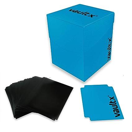 Vault X® Caja Grande de Cartas con 150 Fundas Negras - Tamaño Grande para 100+ Cartas en Fundas - Porta Tarjetas Libre de PVC para TCG (Azul)