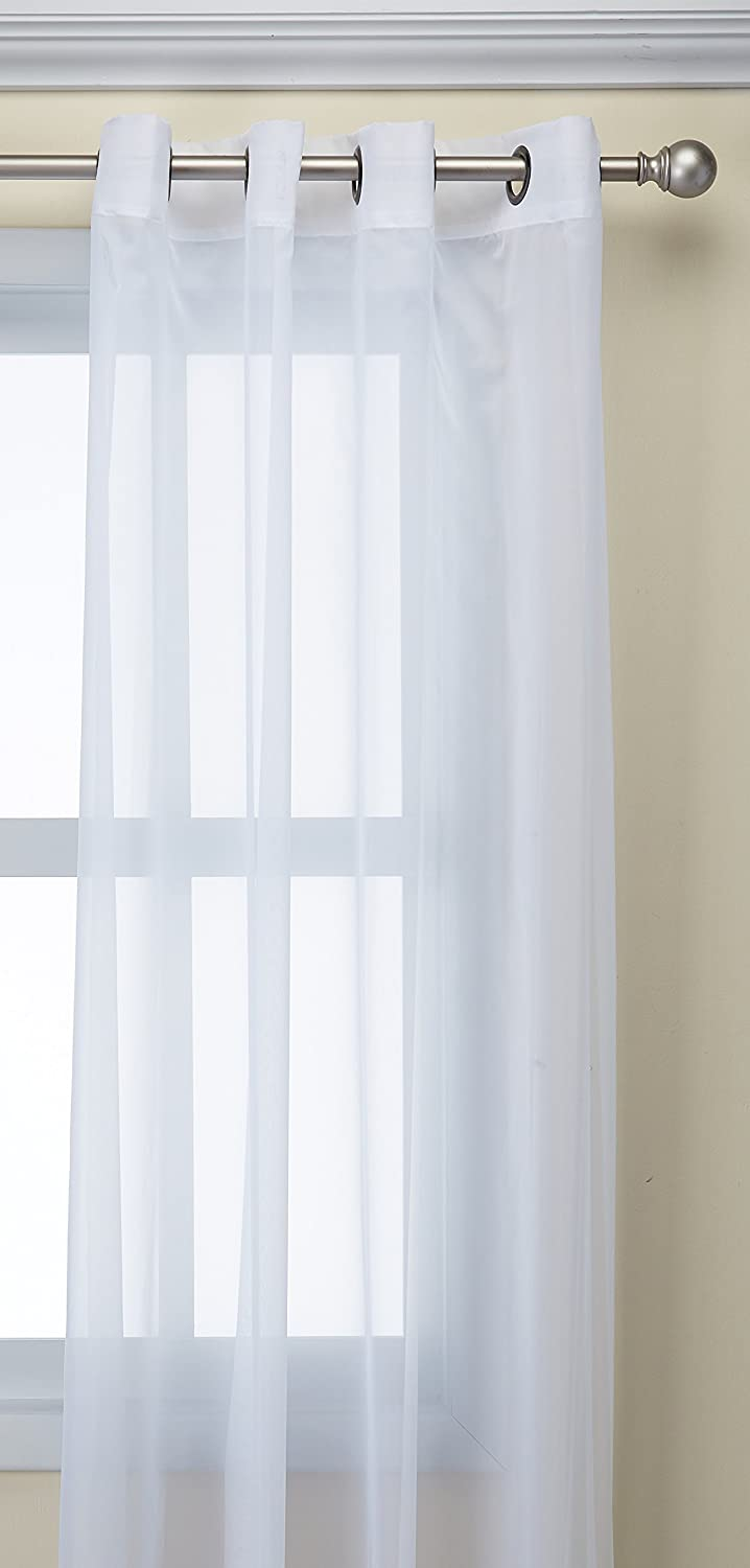 Winter White 59 by 84 CHF Industries 1Q80430GWI 59 by 84 Curtainworks Soho Voile Sheer Grommet Panel