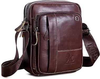 BAIGIO Bolso Bandolera Hombre de Cuero Bolso Hombro Piel Pequeño Vintage Crossbody Bag Casual (Marrón)