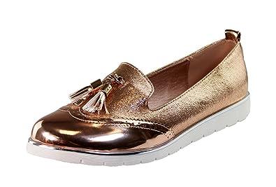 cb146631380 Larena Fashion New Womens Loafers Brogue Ballet Glitter Metallic Tassel  Pumps Casual Flat Shoes (36