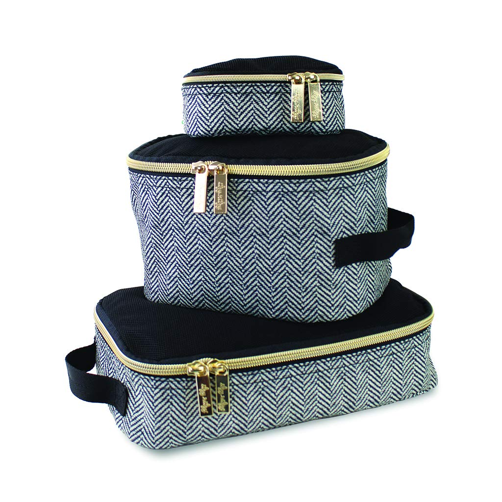 Itzy Ritzy Packing Cubes - Set of 3 Packing Cubes or Travel Organizers; Each Cube Features a Mesh Top, Double Zippers and a Fabric Handle; Coffee and Cream