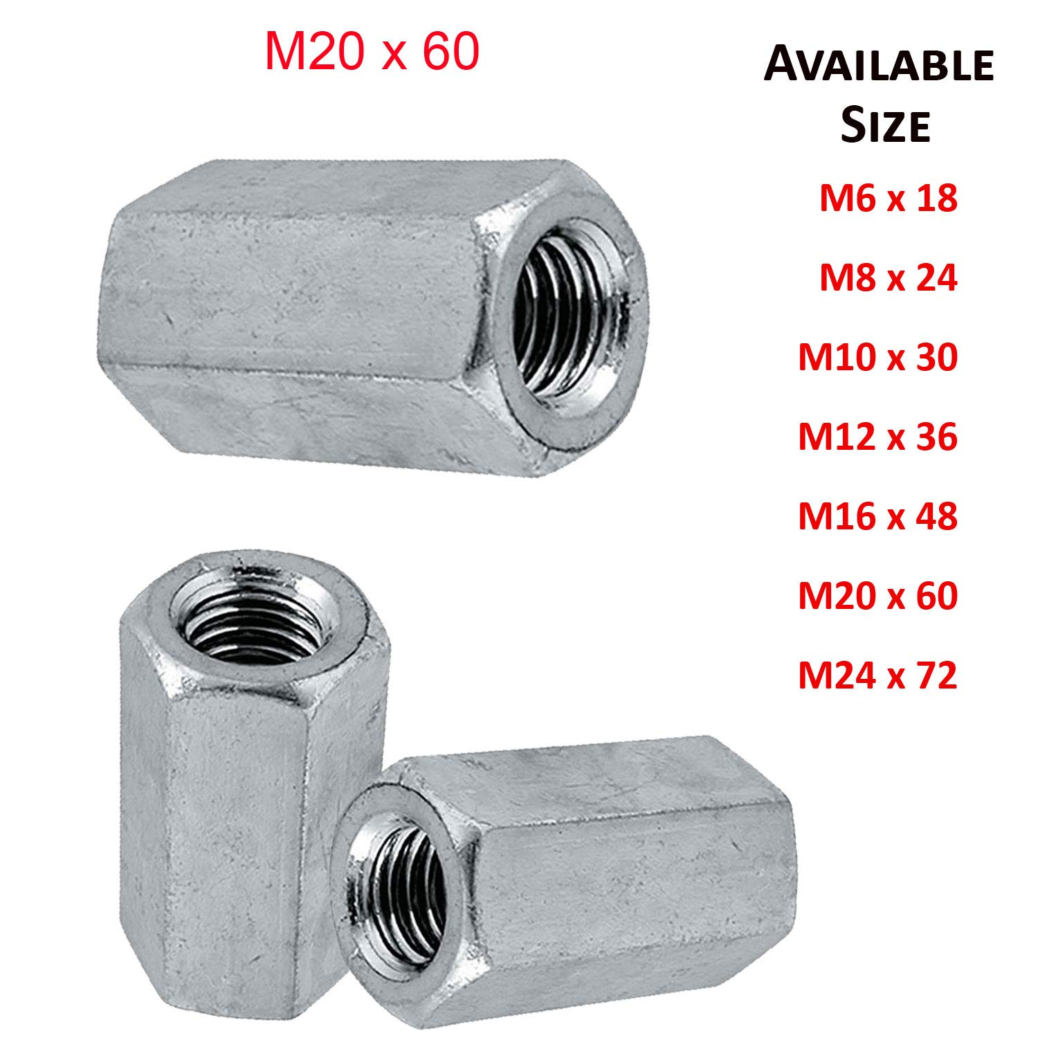 (10mm) M10 exagon Studding Connector Long Nuts Bright Zinc Plated Grade 4 DIN 6334 - Pack 3 SHUKAN