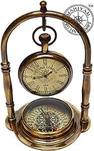 Nautical Clock Ship Table Clock Brass Desk Clock Maritime Brass Compass with Antique Victoria London Pocket Watch