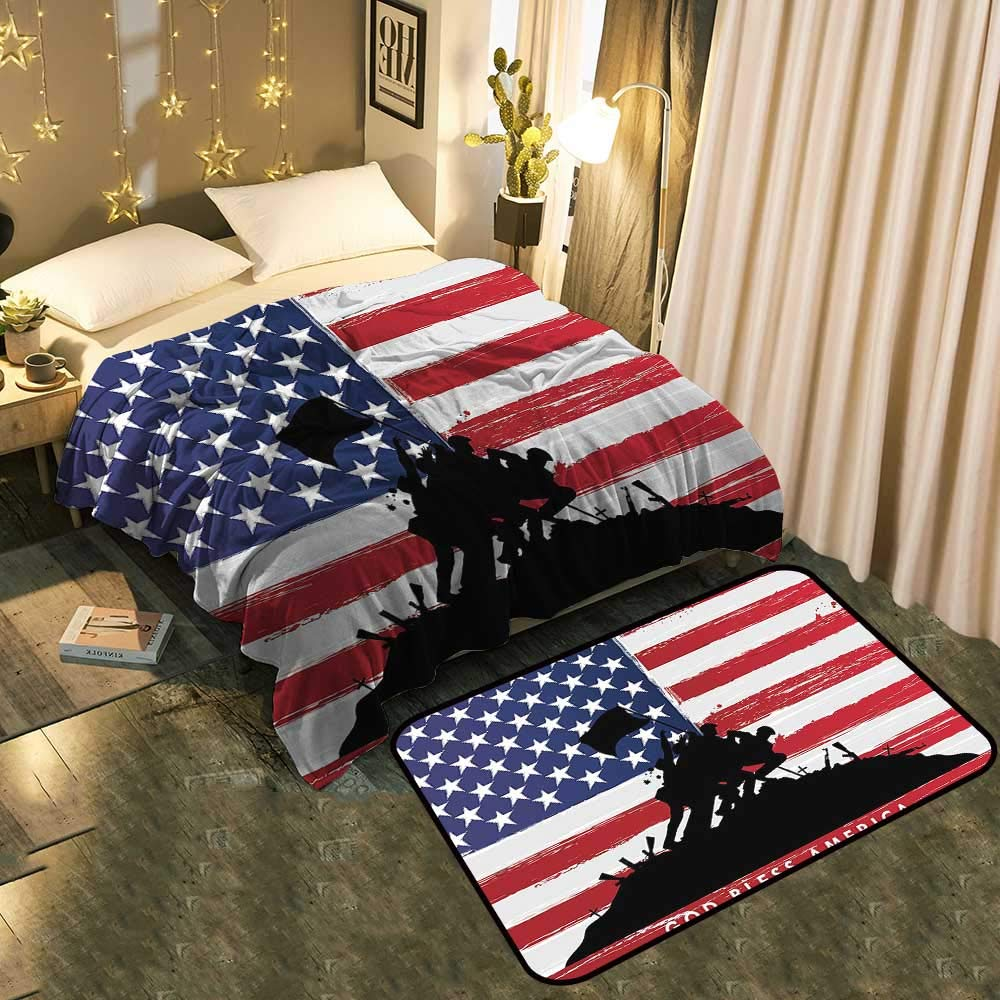 color04 Blanket 70 x90  Mat 6'X9' Bedside Blanket Doormat Suit New Mexico of United States Flag Sun Symbol of The Zia on Cozy and Durable Blanket 60 x78  Mat 5'X8'