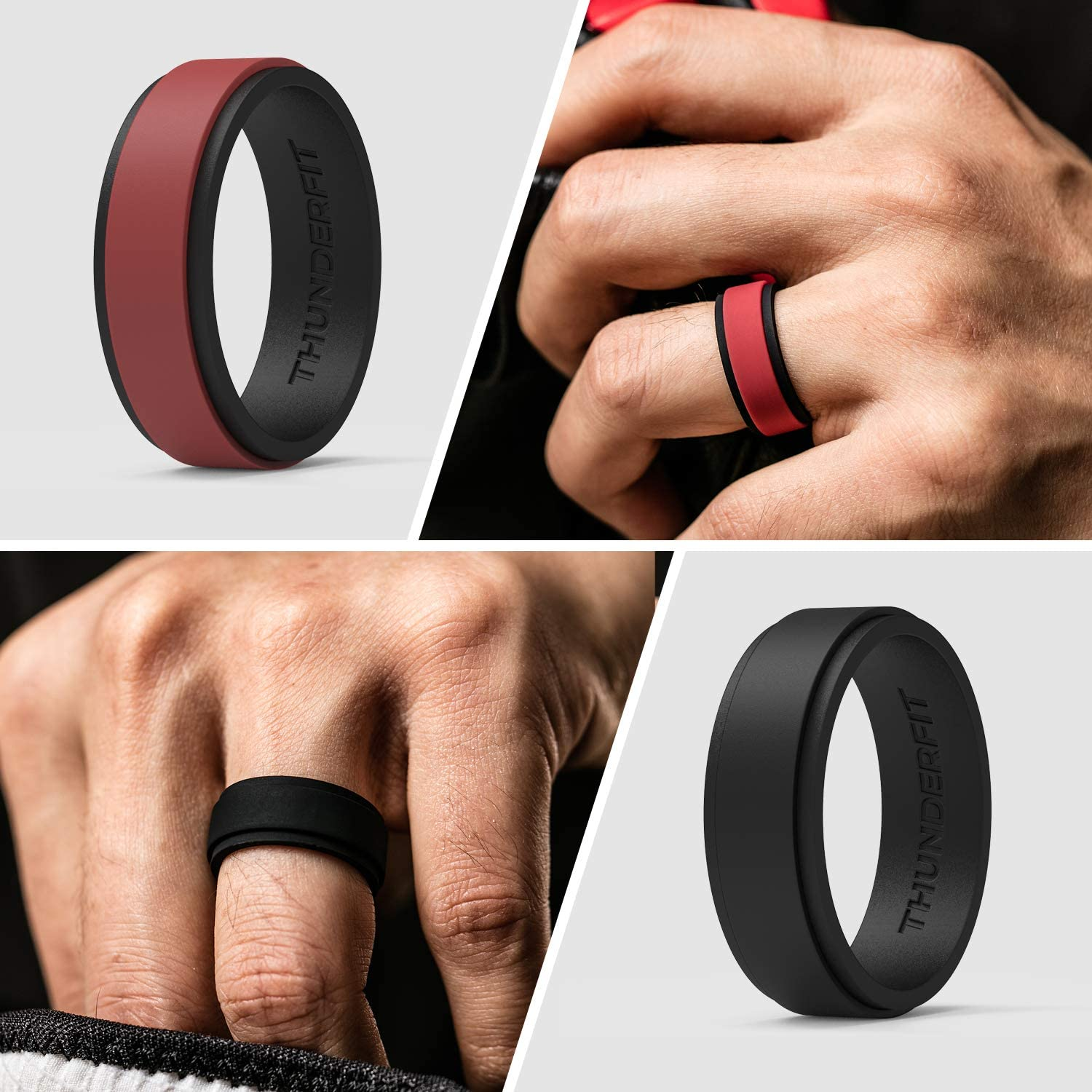 2 Layers Step Edge 10mm Width 2.3mm Thick ThunderFit Silicone Wedding Rings for Men