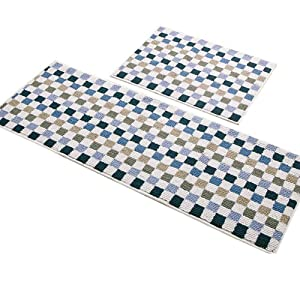 "Easychan 2 Piece Carpet Rubber Backing Non-Slip Kitchen Mat Doormat Area Rugs (17""x23""+17""x47"", Blue Mosaic)"