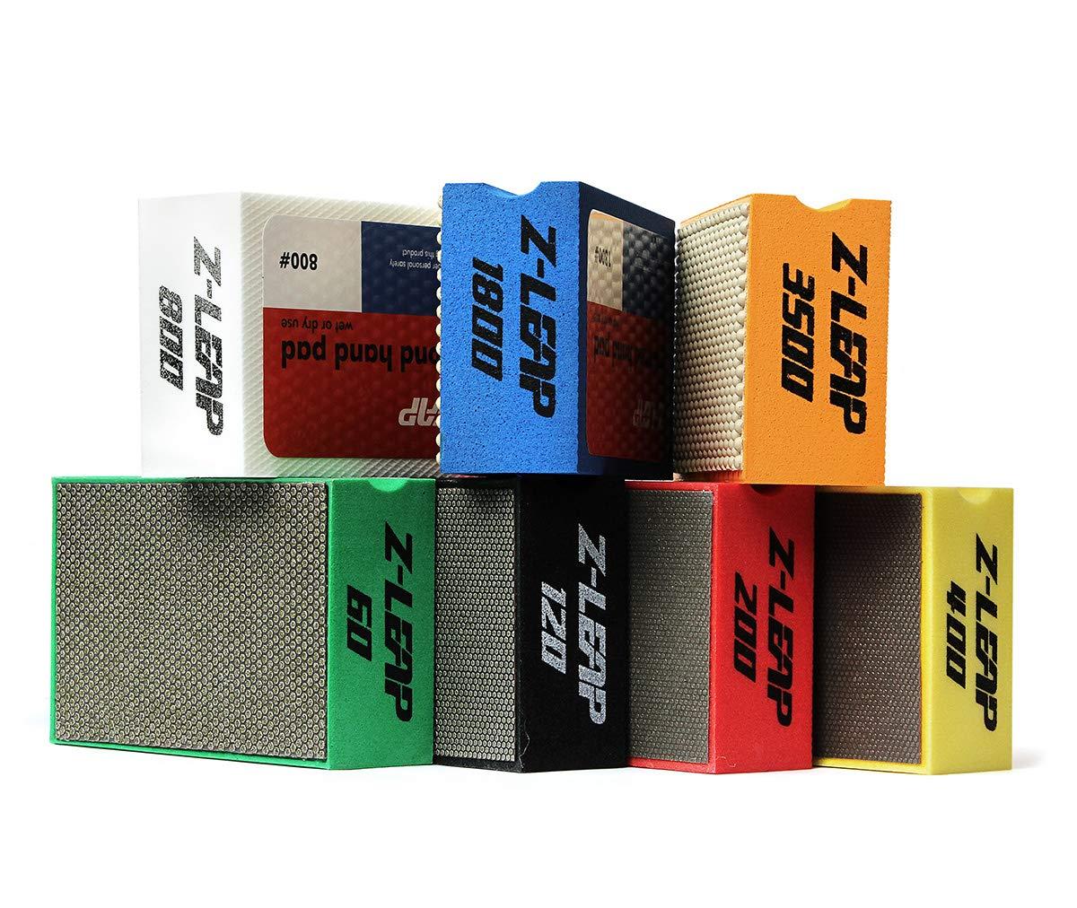 Z-LEAP Diamond Hand Polishing Pads 7-Pcs Set for Granite Marble Concrete Glass Stone Sanding Polishing ¡
