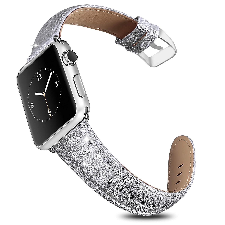 UMAXGET Apple Watch用バンド 38/40MM 42/44MM 本革 キラキラ輝くリストバンド Apple Watchシリーズ4/3/2/1 Nike+用 Iwatch用 38MM/40MM シャイニーシルバー B07HNXTBTZ