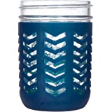 JarJackets Silicone Mason Jar Protector Sleeve - Fits Ball, Kerr 16oz (1 pint) WIDE-Mouth Jars | Package of 1 (Midnight)