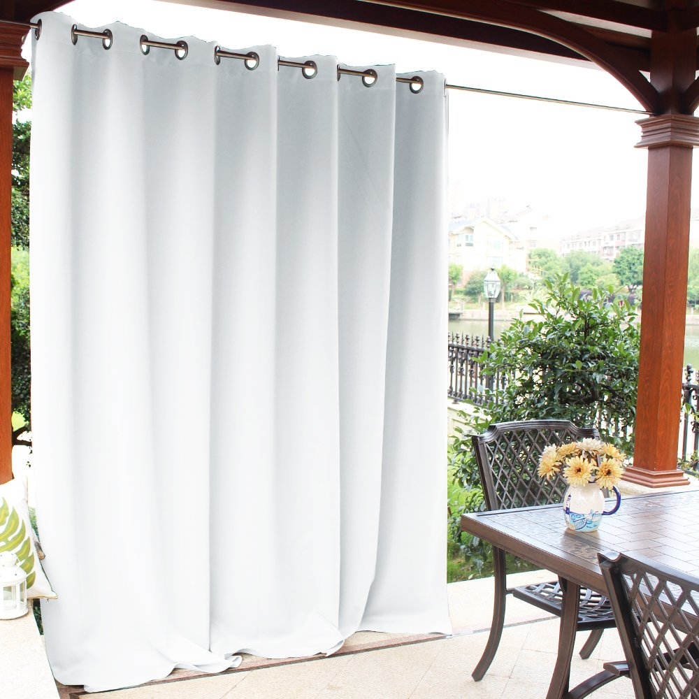 NICETOWN Pergola Outdoor Drape and Curtain - Front Porch Decor Thermal Insulated Rust Proof Silver Ring Top Room Darkening Panel for Outdoor Entertaining Space(Greyish White, 1 Panel, 100 x 84 Inch)