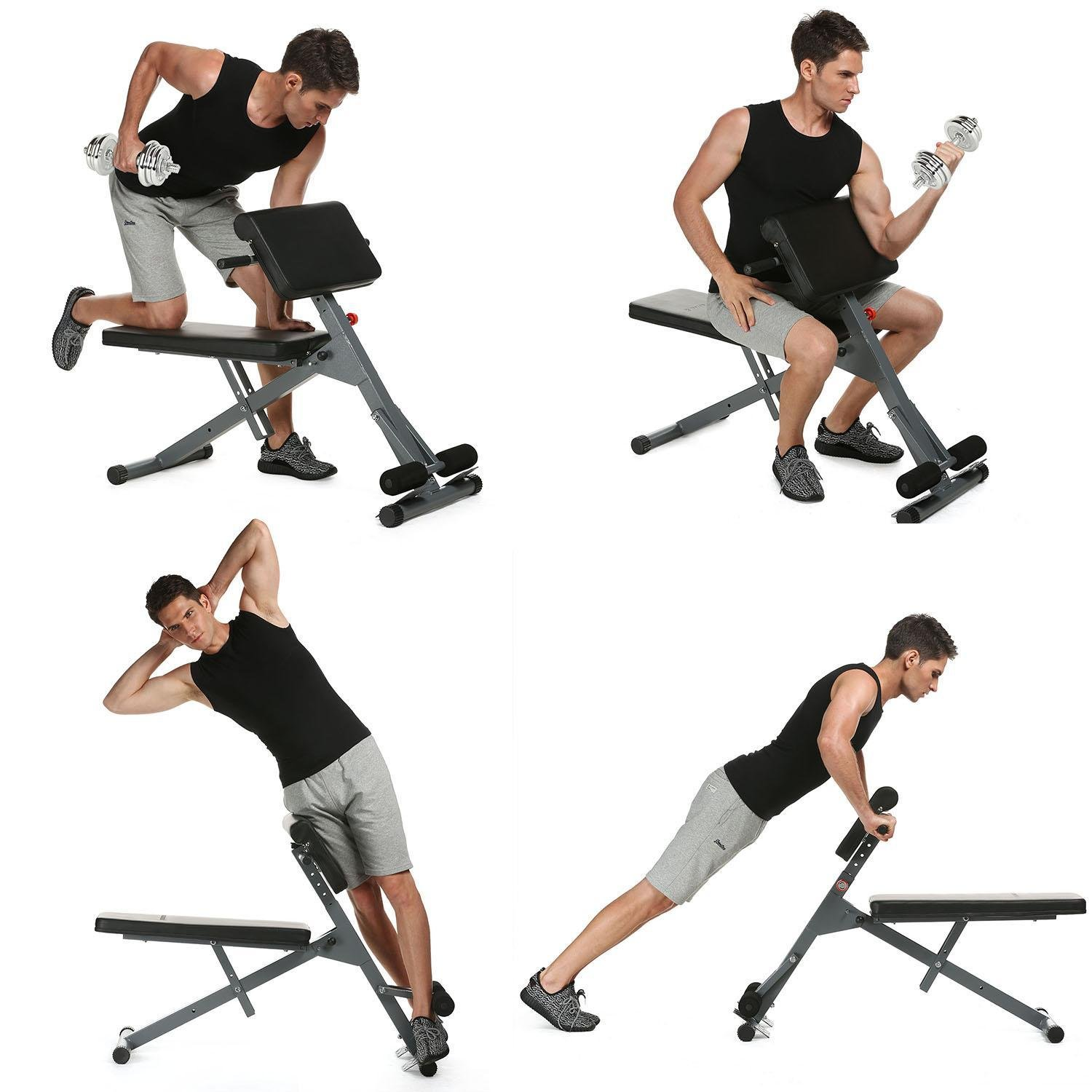 (US STOCK)Adjustable Hyperextension Dumbbell Bench, Pro AB Back Abdominal Extension Roman Chair Fitness Bench Gym Exercise
