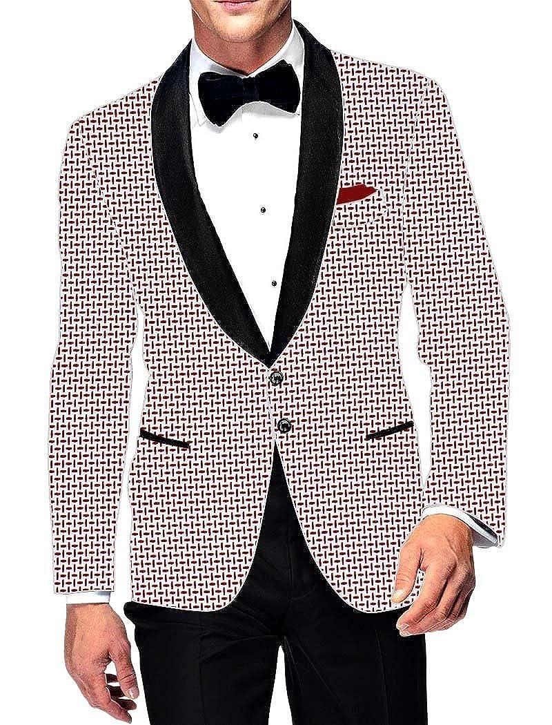 INMONARCH Mens Slim fit Casual White Cotton Blazer Sport Jacket Coat Red Desh Print SB14240