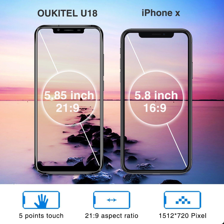 Telefonos Moviles, OUKITEL U18 4G Smartphone 5.85 Pulgadas (21: 9 ...