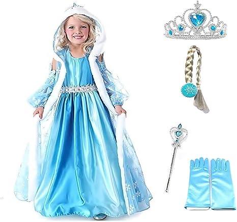 Talla 100-2 – 3 años – Disfraz Elsa – Capucha – Accesorios ...