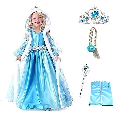 Talla 100-2 - 3 años - Disfraz Elsa - Capucha - Accesorios ...