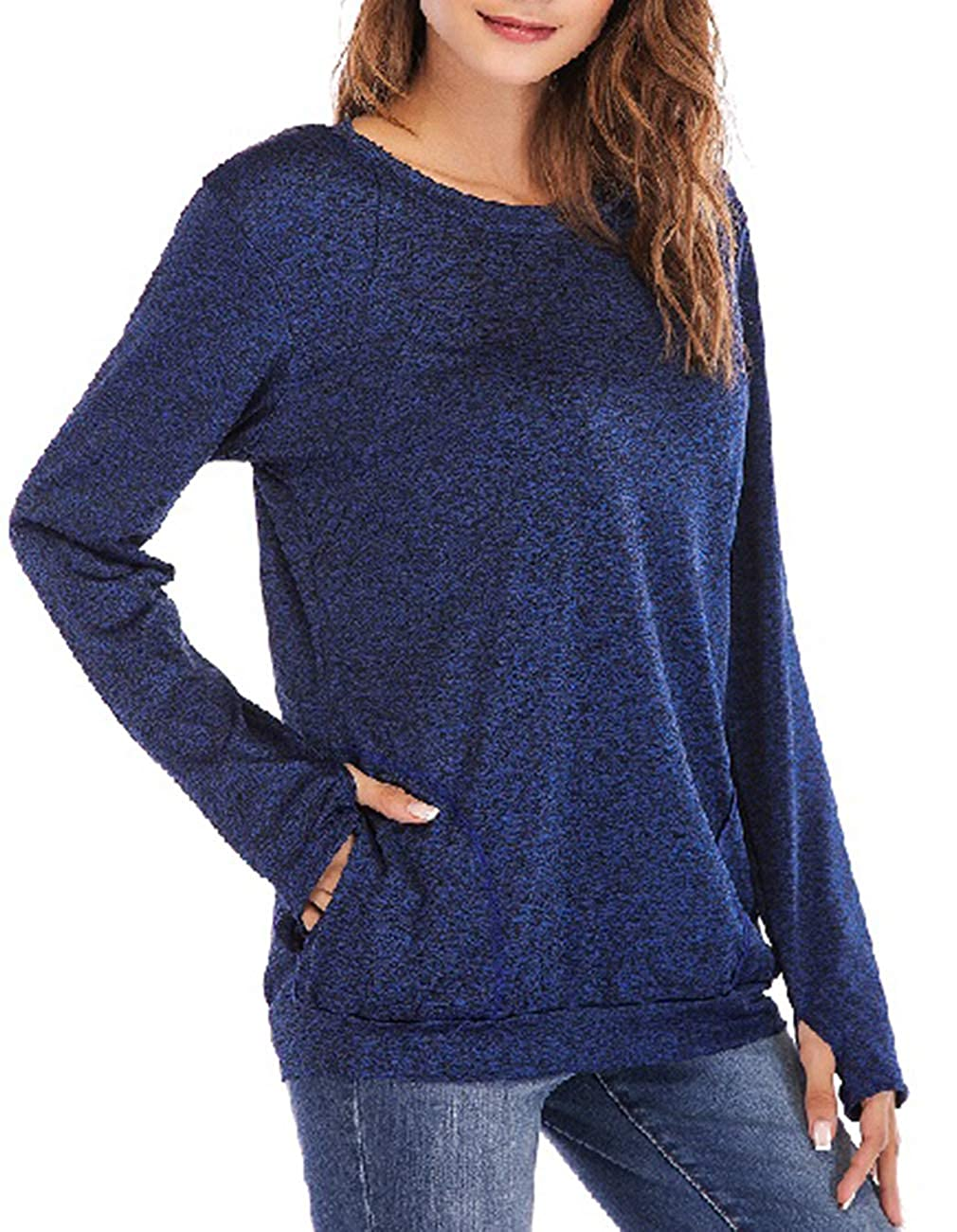 bluee Defal Womens Long Sleeve Round Neck QuickDry Top TShirts Loose Gym Sports with Thumb Holes Pockets Comfortable Tunic Blouse