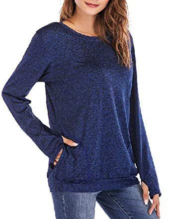 79b2f4806b4 Defal Womens Long Sleeve Round Neck Quick-Dry Top T-Shirts Loose Gym Sports  with Thumb Holes Pockets Comfortable Tunic Blouse