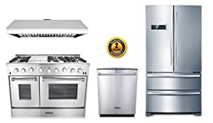"Thor Kitchen 4-Piece Bundle with 48"" 6 Burner Stainless Steel Gas Range, 48"" Under Cabinet Range Hood, 36"" Franch Door Fridge and 24"" Dishwasher"