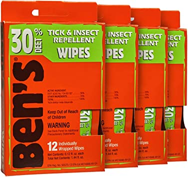 Ben's 30 Insect Repellent Wipes (Pack of 4)