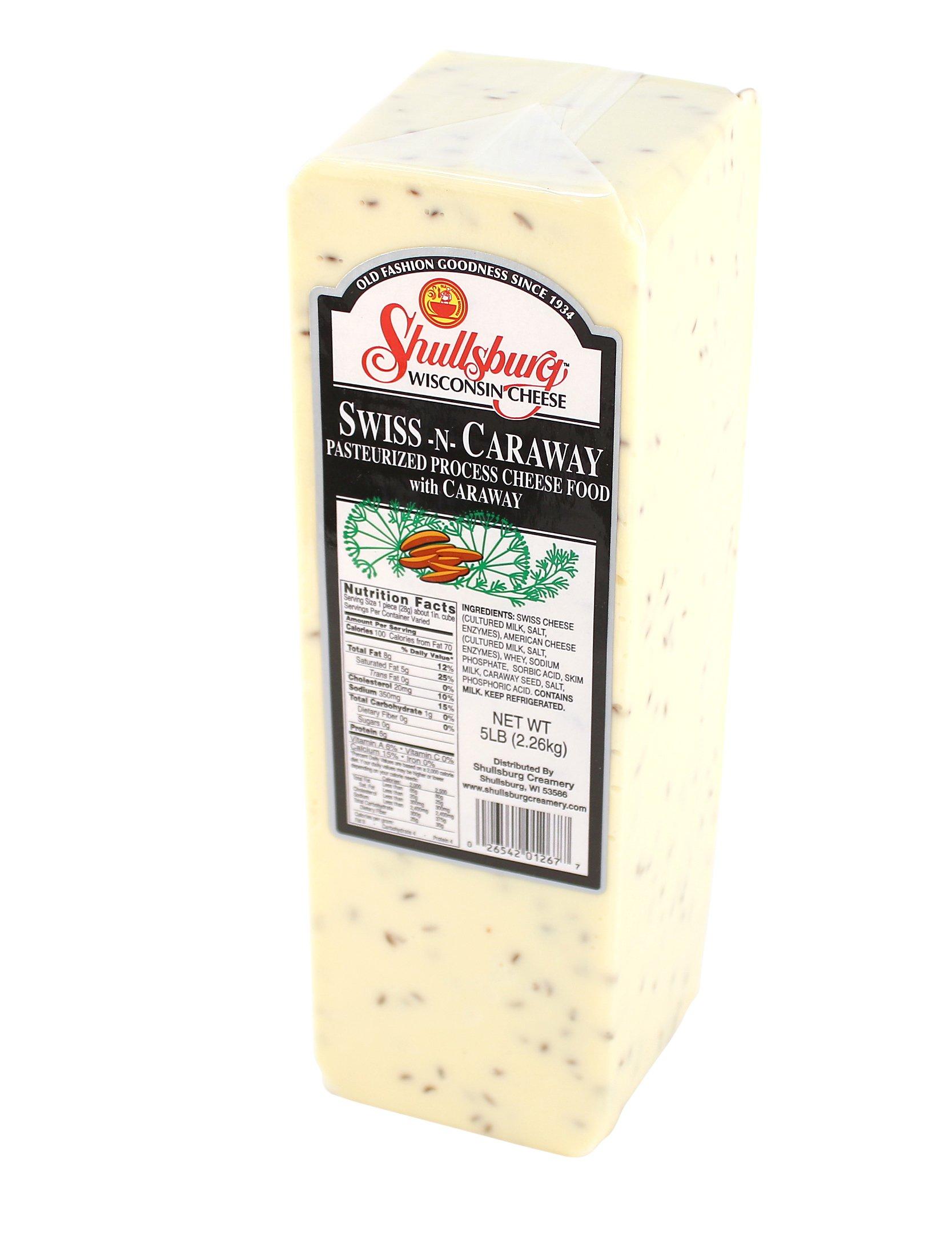 Shullsburg Creamery - Swiss N Caraway Cheese- 5 Pound Loaf