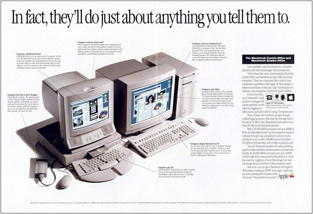 RelicPaper 1993 Apple: First Personal Computers That Will Send Faxes, Apple Computer Print Ad