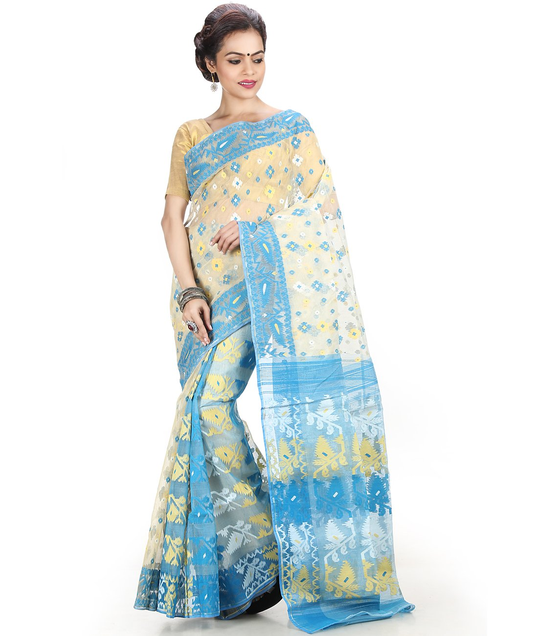 Maahir Garments Exclusive Indian Ethnicwear tant Cotton Off-White and Blue coloured Dhakai jamdani Saree