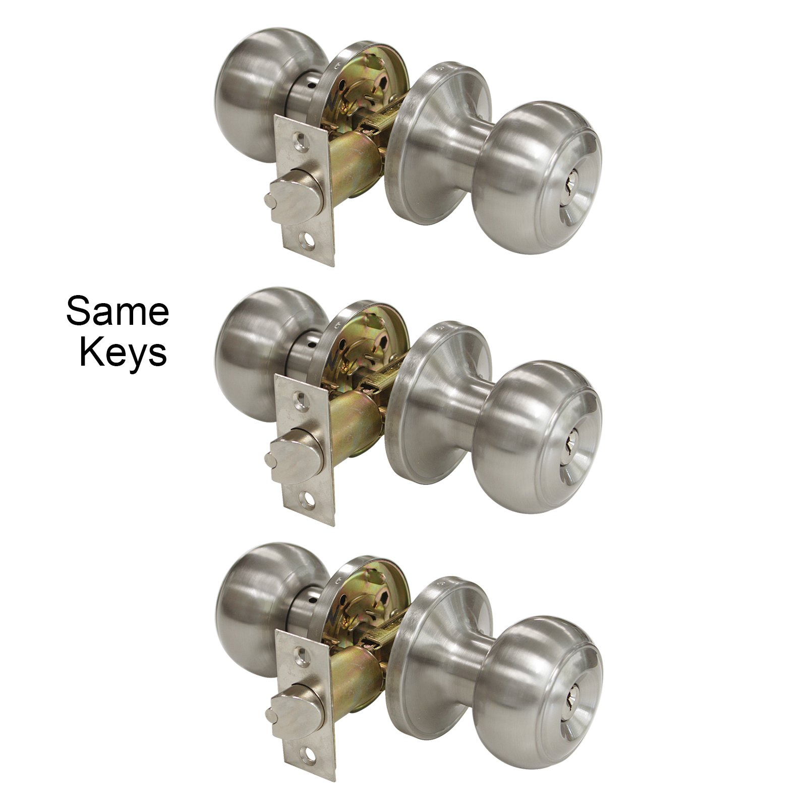 Gobrico Round Keyed-alike Exterior Door Hardware Entrance Locksets Knobs, Satin Nickel 3Pack