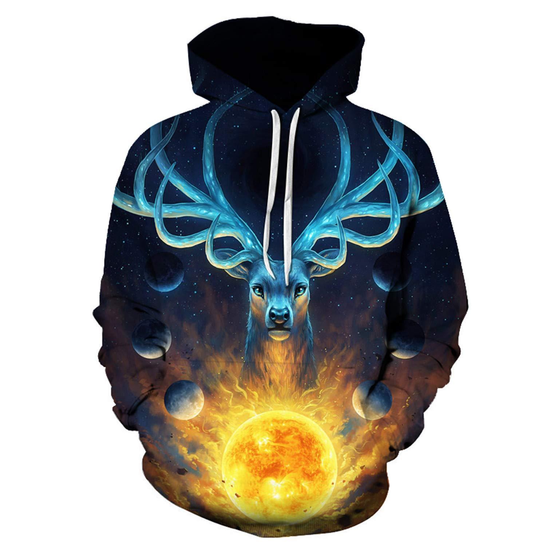 Celestial by JoJoes Art Magic Deer,Hooded Sweatshirts Men Women,3D Hoodies Printed Novelty Pullover Funny Tracksuit