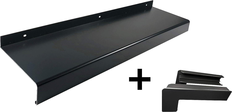 Set Alu Fensterbank anthrazit 1100 mm, anthrazit Auslage 180 mm Aluminium Endkappen f/ür Putz bis 2m Zuschnitt auf Ma/ß inkl