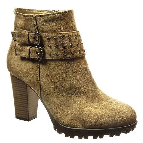 Angkorly - Zapatillas Moda Botines Botas Militares Mujer Tachonado Hebilla Tacón Ancho Alto 8.5 CM Forrada de Piel - Caqui 68-11 T 41: Amazon.es: Zapatos y ...