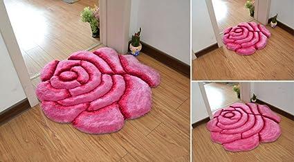 Tappeto Da Salotto Rosa : Thome tappeto shaggy a forma di rosa scendiletto tappeto per