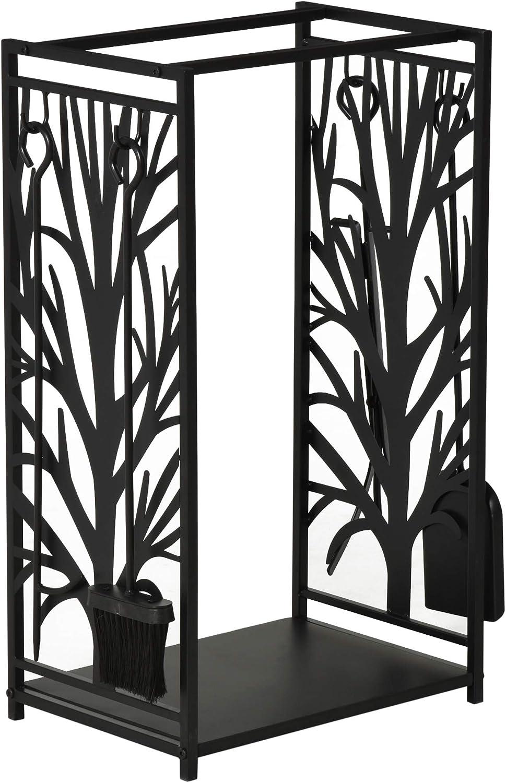Porte b/ûches Range b/ûches Multi Accessoires /étag/ère 46L x 29l x 70H cm Acier Noir Homcom Serviteur de chemin/ée Arbre