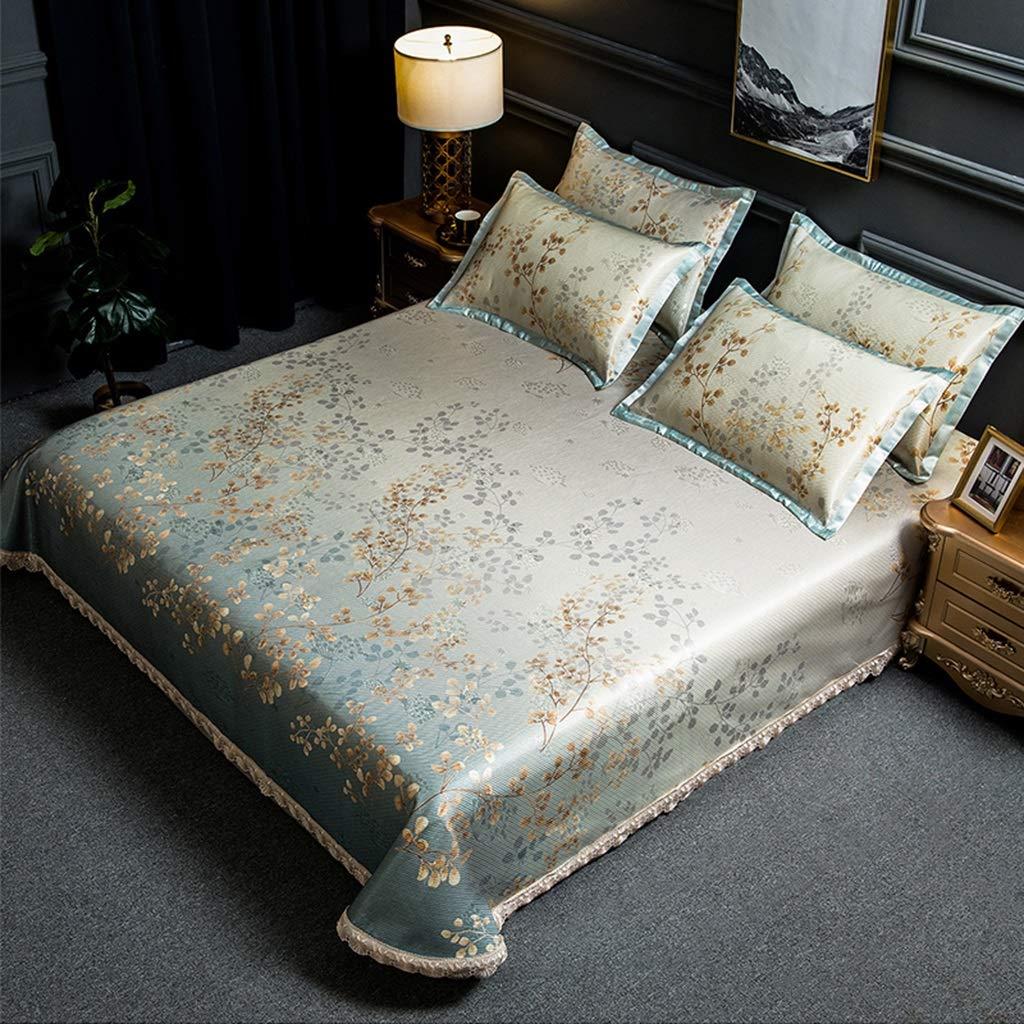 アイスシルクマットスリーピースヨーロッパ1.5メートル/ 1.8メートル/ 2.0メートルベッド洗える機ウォッシュエアコンマット (Color : Gray Green, Size : 1.5m/1.8m/2.0m bed) B07TFGJ3C4 Gray Green 1.5m/1.8m/2.0m bed