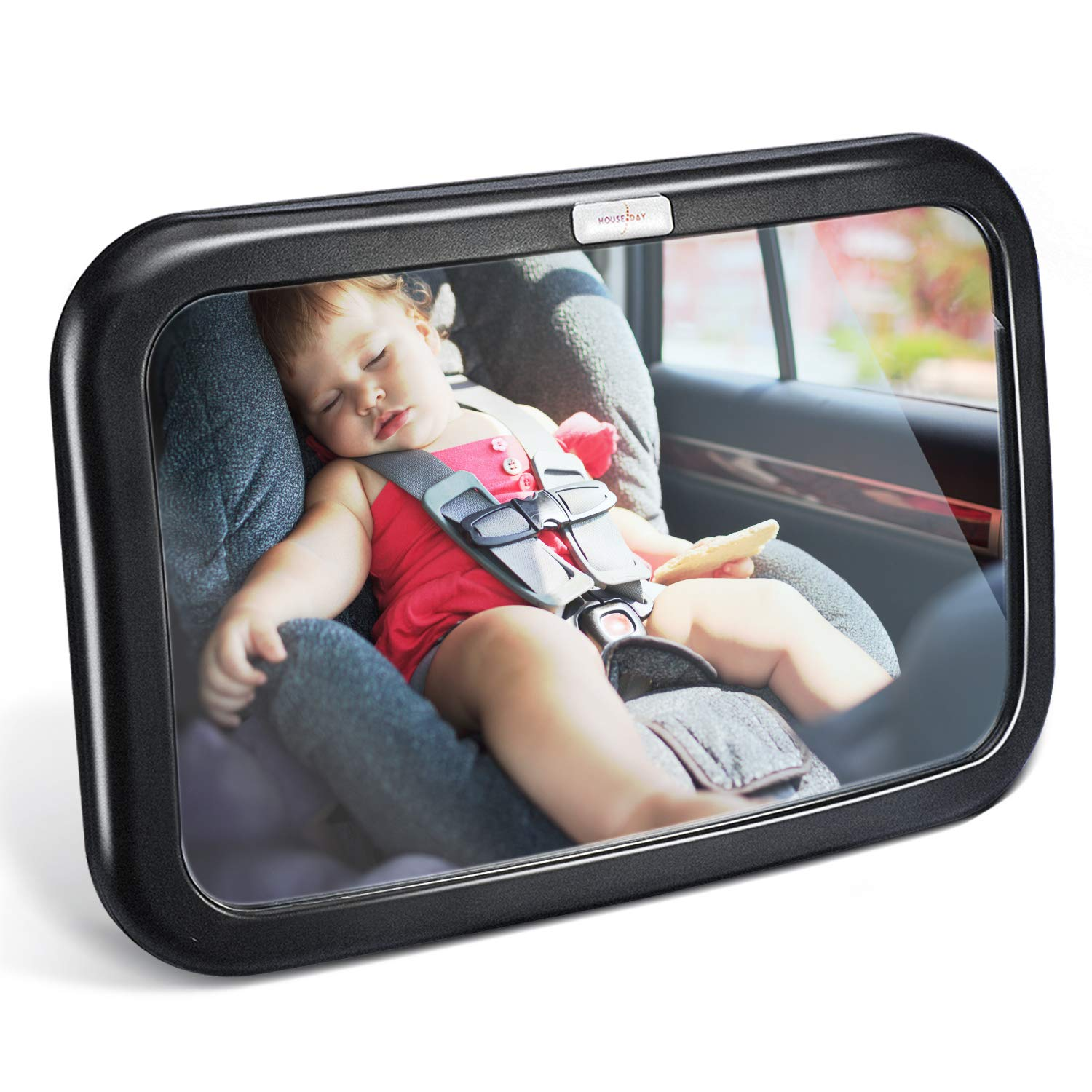 HOUSEDAY Baby Car Mirror | Most Stable | View Infant in Rear Facing Seat | 100% Lifetime Satisfaction Guarantee | Shatterproof & Crash Tested | Best Newborn Safety| Safety Car Seat Mirror for Rear Fac