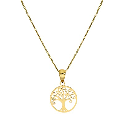 9ct Gold Tree of Life Pendant on Chain 16-20 Inches lmwve