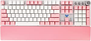 Mechanical Keyboard, White and Pink Double Spell PTP keycap, Magnetic adsorption Hand Rest, Gaming and Office Keyboard
