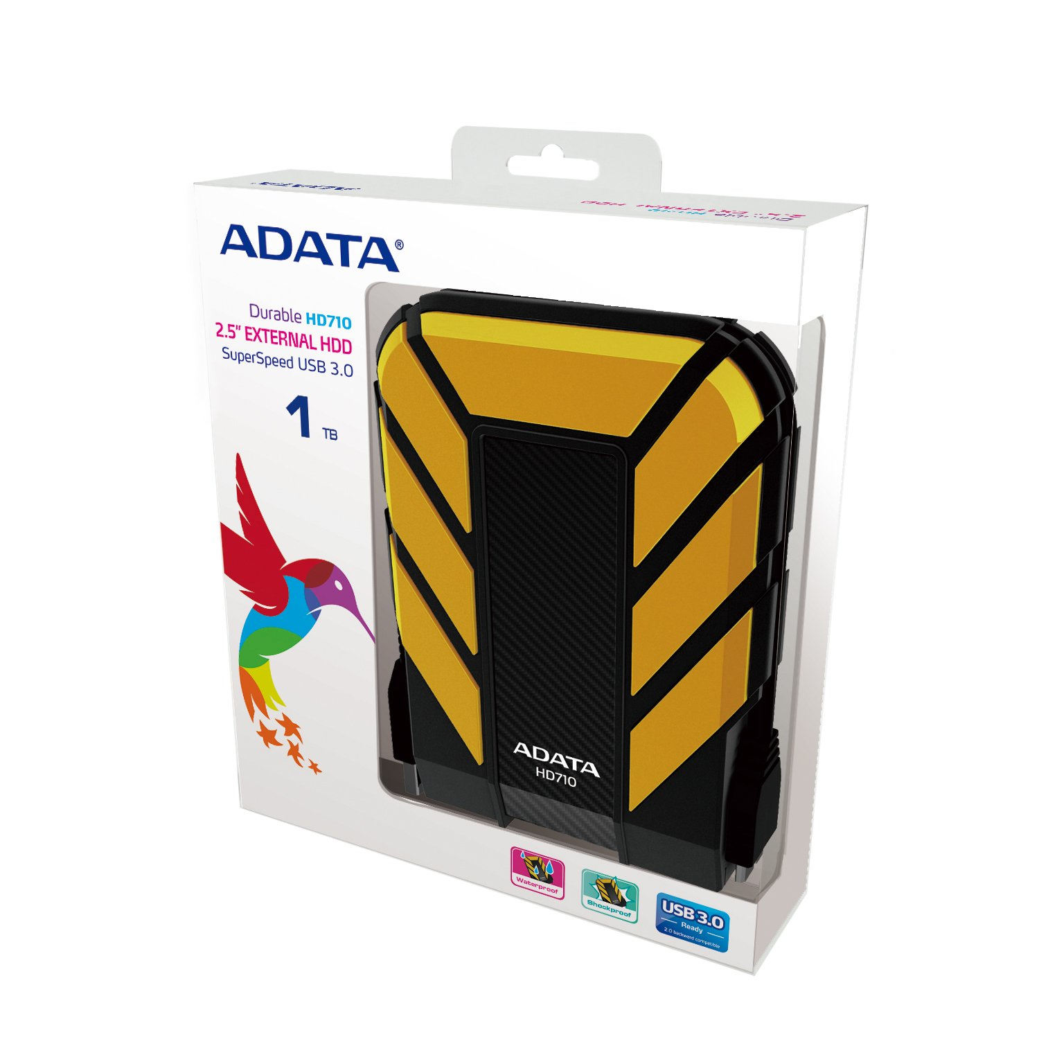 ADATA HD710 1TB USB 3.0 Waterproof/Dustproof/ Shock-Resistant External Hard Drive, Yellow (AHD710-1TU3-CYL) by ADATA