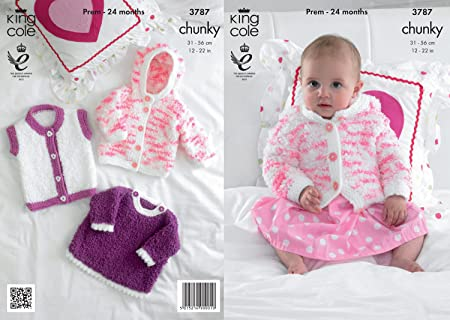 87c8d26e88fe King Cole Cuddles Chunky Knitting Pattern Baby Knitted Jacket Angel ...