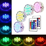 Submersible LED Light, 4Pcs Waterproof Pond Lights Pool Underwater 10-LED RGB Multicolour Remote Control Battery Powered For Fish Tank, Vase Base, Hot Tub, Aquarium,Party, Wedding, Halloween