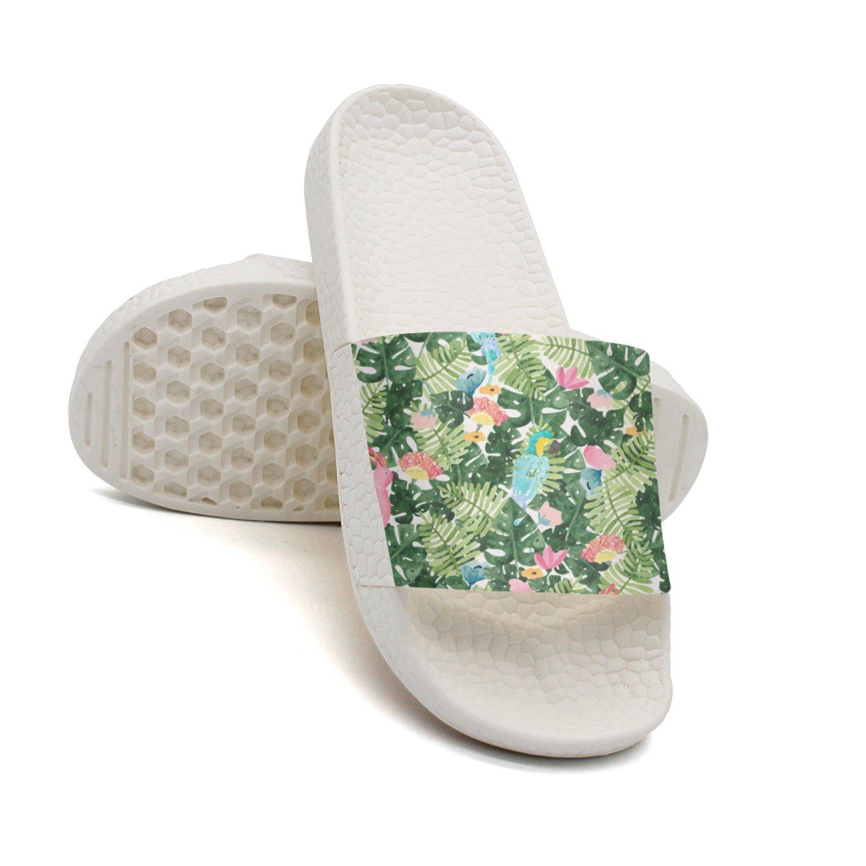 Ether Dobbin Unisex Tropical Flower And Bird Anti-Slip Slippers Athletic Slide Sandals