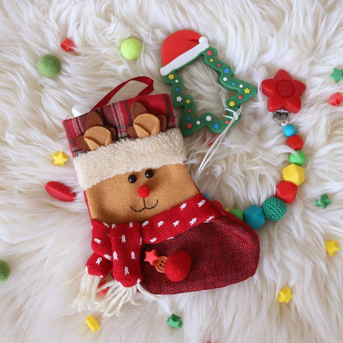 Feliz Navidad Regalos de Santa Mamimami Home Bebé Mordedor de Silicona Árbol de Navidad Clips de Descarga Juguetes de Dentición DIY con Calcetín Rojo: ...