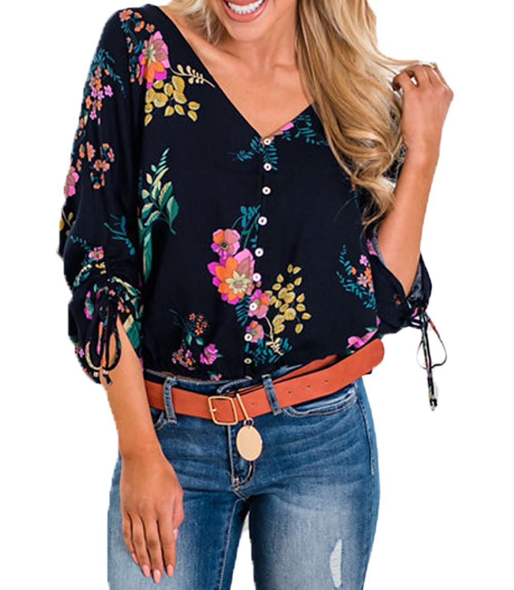 VAYAGER Womens V Neck Button Down T Shirt Floral Print Tie Knot 3/4 Sleeve Loose Casual Henley Crop Tops (Blue, S)
