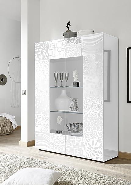 Arredocasagmb.it Mobile vetrina 2 Ante Moderno Bianco Lucido con ...