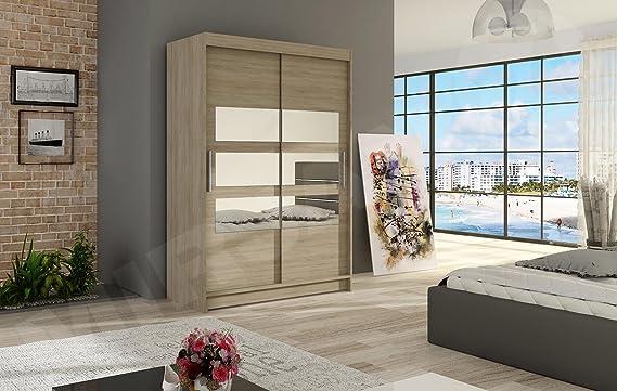 Armario Armario de Puertas correderas Miami V con Espejo, Moderno ...