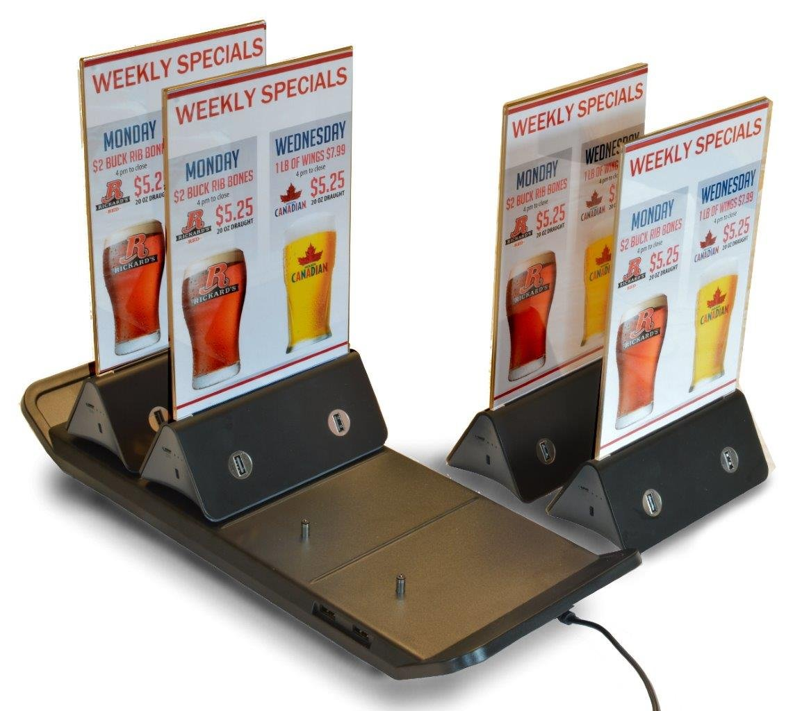 Table Tent Portable Menu Holder / USB Table Charger Kit with Charging Tray