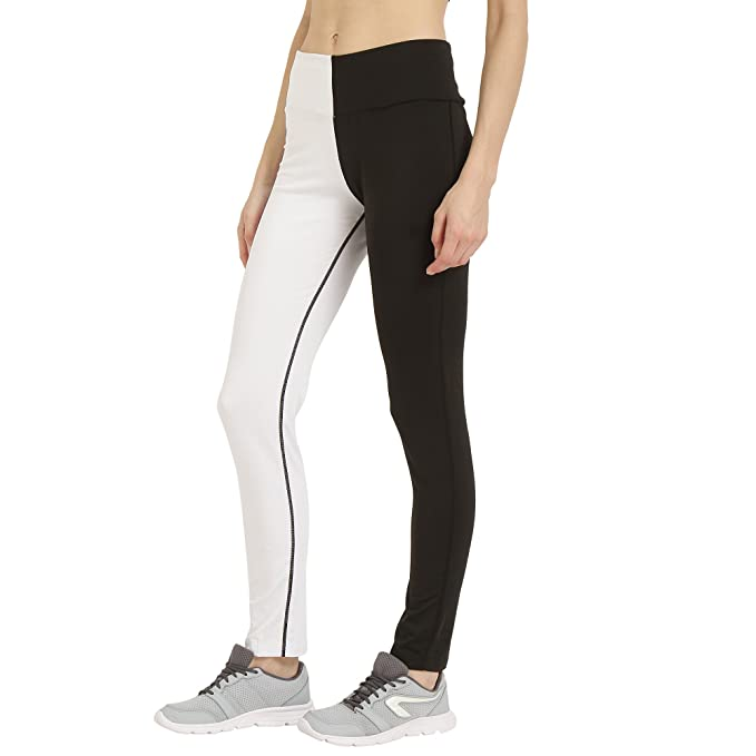 dceba311ba9152 CHKOKKO Women's Polyester Stretchable High Waist Track Yoga Leggings (White  and Black, 3XL): Amazon.in: Clothing & Accessories