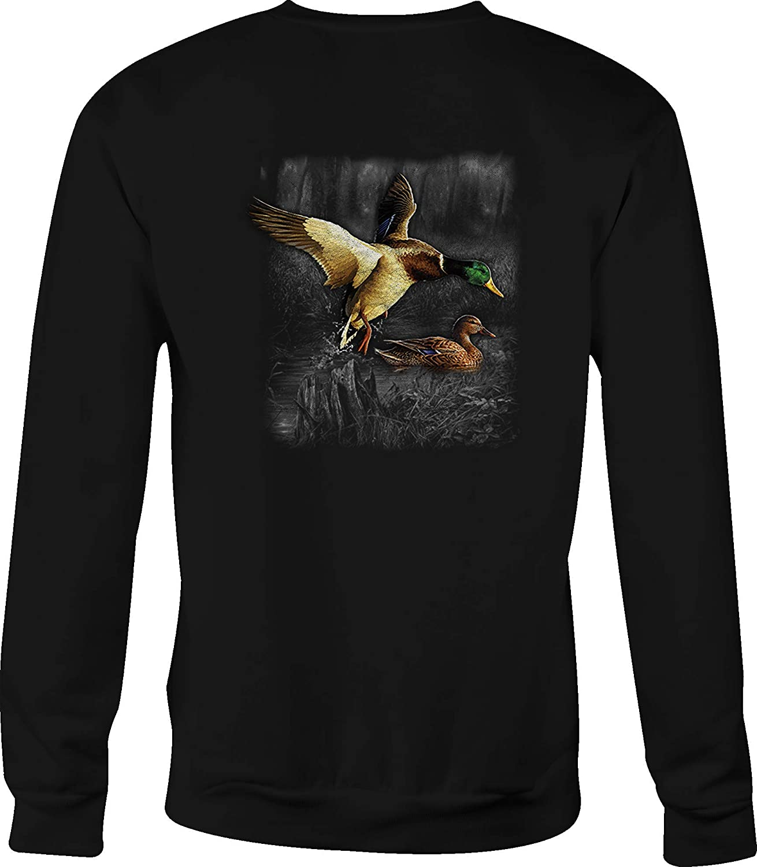 Motorcycle Crewneck Sweatshirt Ducks Flying Lake Water Fowl Wilderness